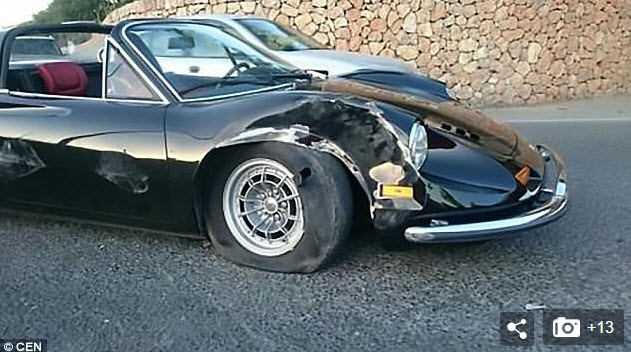 dirtyoldcars.com Austrian Fashion Model Crashes Ferrari 246GTS in Ibiza 7