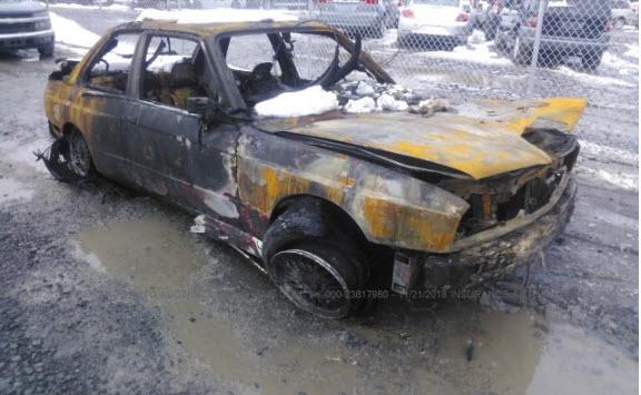 dirtyoldcars.com 1988 BMW M3 E30 Fire Damage 1