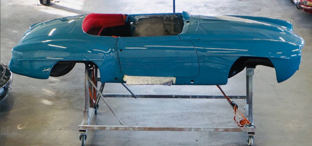 dirtyoldcars.com  1958 Mercedes 190SL  light blue with red interior  1