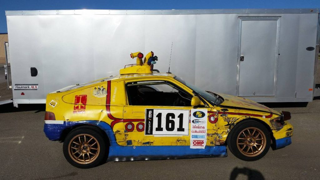 dirtyoldcars.com  1989 Honda Civic CRX SI Yellow Submarine Race Car Lemons Champ  1