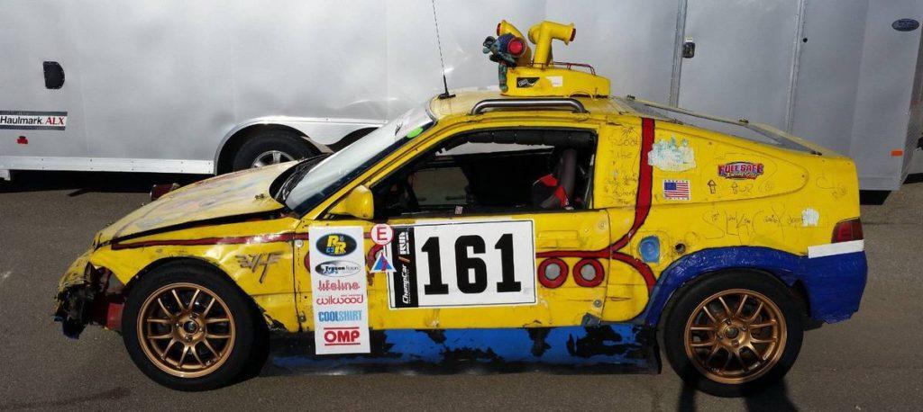 dirtyoldcars.com  1989 Honda Civic CRX SI Yellow Submarine Race Car Lemons Champ  10