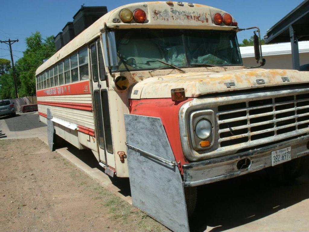 dirtyoldcars.com  school bus race car hauler  2