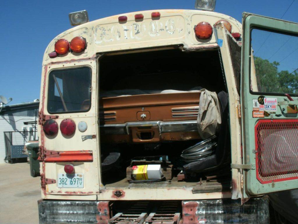 dirtyoldcars.com  school bus race car hauler  3